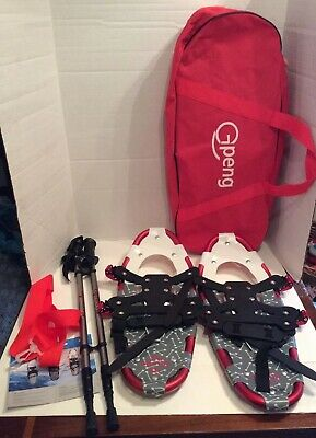 Gpeng Red / Black 821 Snowshoe Set W Poles Carrying Bag New Snowshoes New W Bag