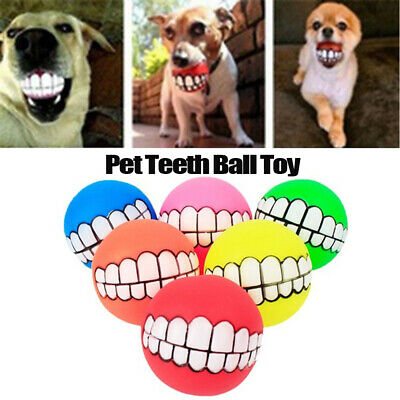 Pet Dog Ball Teeth Funny Silicon Toy Chew Squeaker Squeaky Sound Dog Play Toy~