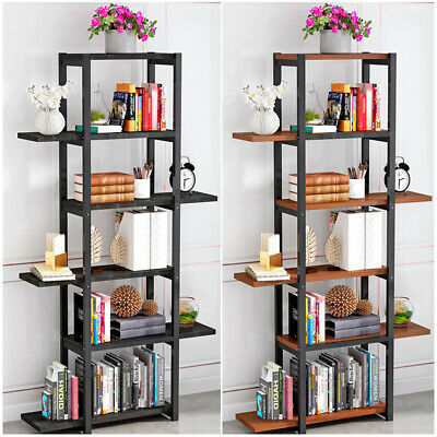 Leaning Ladder Bookshelf 5 Tier Metal Bookcase Wooden Rack Storage Shelf ~UK