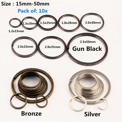10x Split ring flat key ring double ring keychain metal plating 3 Color