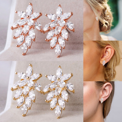 925 Sterling Silver Women Earrings Drop Dangle Crystal Rhinestone Leaf Ear Studs