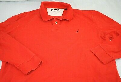 Nautica Mens True Deck Shirt Long Sleeve Orange Polo Free Shipping