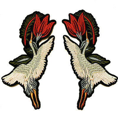 Crane Patches Embroidery Sew Iron on Patch Badge Clothing Bag Applique DIY Craft