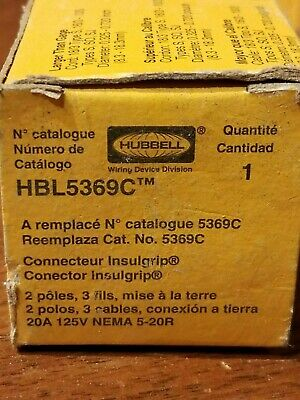 NOS - HUBBELL WIRING DEVICE-KELLEMS HBL5369C Connector,5-20R,20A,125V SHIPS FREE