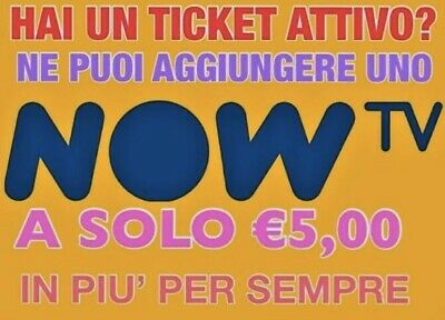 CODICE SCONTO NOW TV TICKET CINEMA INTRATTENIMENTO SERIE TV €5,00/mese A SCELTA