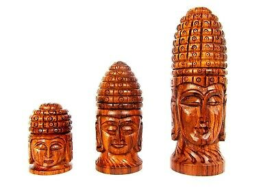 Wooden Buddha Statue Safe Storage Antique Style Rose Wood Carved Stash Jar NEW