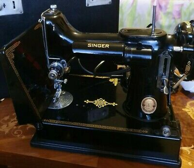 Singer portable sewing machine No 221K1 rotary hook reverse feed Perfect Working
