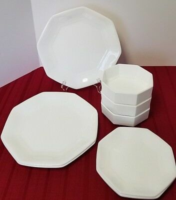 Novoctime White Arcopal Octagonal Milk Glass 3-Dinner 4-Salad 3-Cereal Bowls