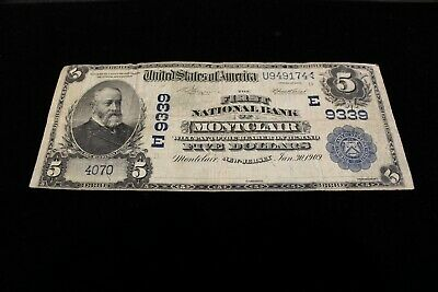 1902 First National Bank Of Montclair New Jersey National Banknote 9339