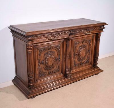 *Antique French Highly Carved Henri II Sideboard/Buffet in Walnut Wood