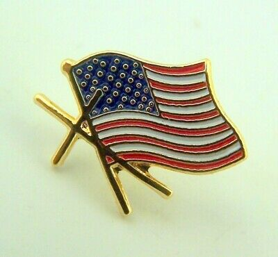American Flag With Gold Cross Lapel Pin