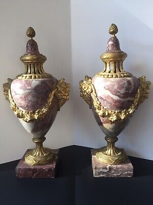 "Pair French Pink 15"" Antique 19th C. BRONZE Mounted & Marble Capped URNS"
