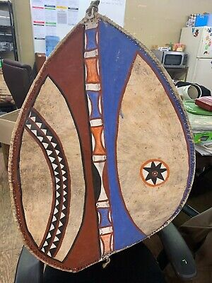 Rare Authentic African presumably  Maasai Tribal hand painted shield