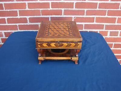 Antique Marquetry Necessaire Sewing Shaving Travel Box