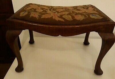 Antique Mahogany Tapestry top Piano/Dressing STOOL with Queen Anne Legs VGC