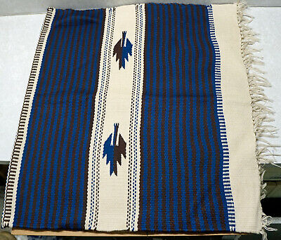 Vintage Wool Hand Woven Rug Ortega's Weaving Shop Chimayo New Mexico 33 x 61