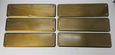 """Vintage Solid Brass Door Push Plate 10"""" x 2.75"""" Qty 6"""