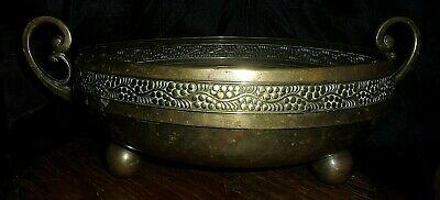 old Greco Roman Brass footed Dish c1920s large 25cm hand beaten / Cast Handles