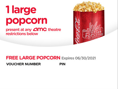 2x AMC Large Popcorn for Holiday expired 12/2020 Instant Delivery by Email 24hrs