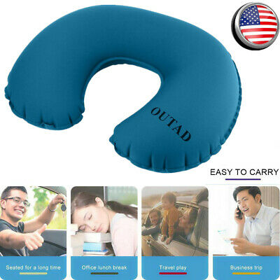 U-Shape Inflatable Neck Pillow Portable Travel Air Plane Head Relax Cushion Pads