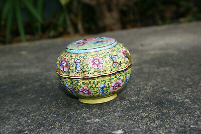 Chinese Bronze Cloisonne Enamel Painted Picture & Flower Trinket Box