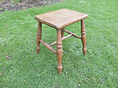 Victorian Stool with Oblong Top on Turned Legs Elm + Ash