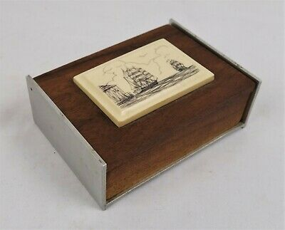 Vintage Teak Wood Metal Trinket Box Replica Ship Carving Nautical