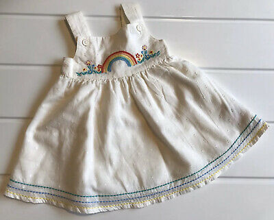 Little Bird Jools Oliver Dress Baby Girl Age 1-3 Months Rainbow Stitching Detail