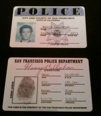Dirty Harry Inspector 2211 S.F. Screen Accurate Prop Credential Card Replica