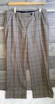 J.Crew Womens Favorite Fit Brown Wool Plaid Pants Trousers Size 6