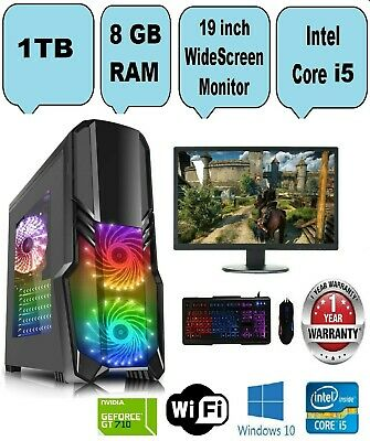 Fast Intel Core i5 Gaming PC Computer 8GB RAM 1TB HDD Windows 10 GT 710 2GB
