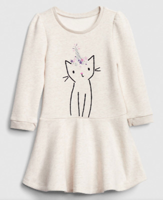 NWT Baby Gap Girls Cat Unicorn Graphic Fleece-lined Fit & Flare Dress 3T 3 Years
