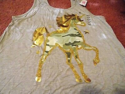 justice-girls size 14/16plus gray tank top with a camo glittery unicorn --nwt