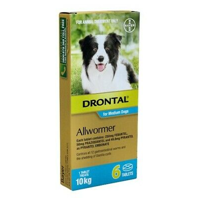 Drontal Allwormer Tablets Medium Dog 10kg Roundworm Hookworm Whipworm Tapeworm