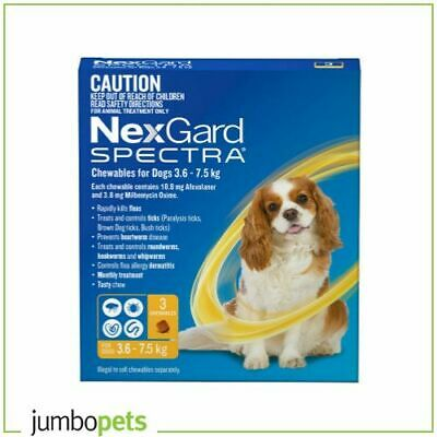 NexGard Spectra Small Dog 3.6-7.5kg Flea Tick Worms Heartworm Chew