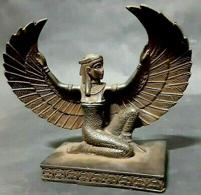 Rare Ancient Egyptian Antiques Statue Of Goddess Winged ISIS Stone 1459-1349 BC