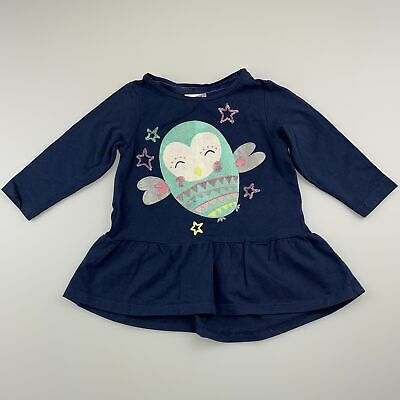 Girls size 0, Dymples, navy long sleeve peplum top, owl, GUC