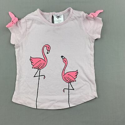 Girls size 0, Baby Berry, pink cotton t-shirt / top, flamingos, GUC