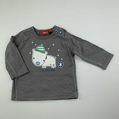 Boys size 00, Sprout, grey cotton long sleeve t-shirt, polar bear, GUC