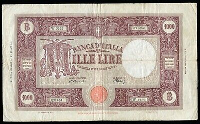 PICK# 72c 1943 1000 MILLE LIRE BANCA D'ITALIA BANK OF ITALY BANKNOTE VERY FINE