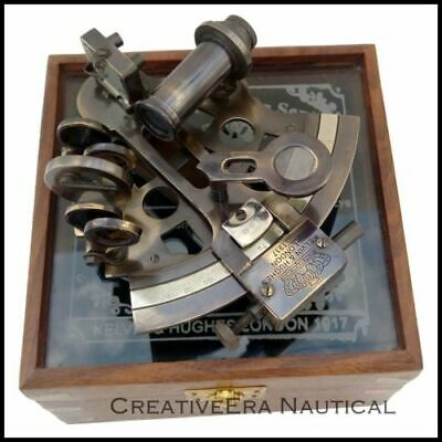 Nautical-Sextant-Instrument-AstrolabeSolid-Brass-Maritime-W/Glass Top Wooden box