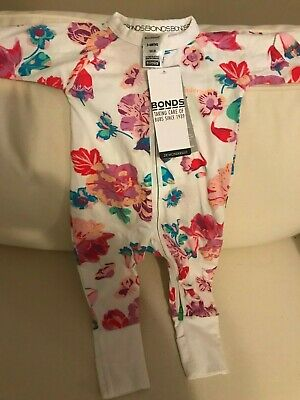 BONDS BABY WONDERSUIT ZIPPY NWT 3 - 6 months 00 White & pink floral