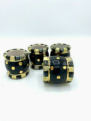 Retired Mackenzie Childs Ceramic Courtly Check With Dots Napkin Rings Set Of 4!