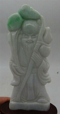 Certified Lavender Natural Grade A Jade jadeite Hand Carved Statue Sculpture 寿星
