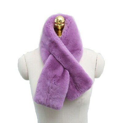 Women Genuine Luxury Real Rex Fur Cross Scarf Plush Neck Warmer Collar Winter