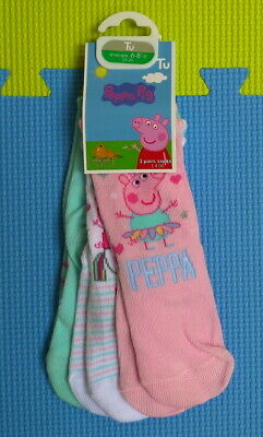 3 Pack Peppa Pig Socks (with Unicorn/as Ballerina/with Castle) Size 6-8.5