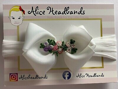 Baby Headbands Girl Soft Stocking Band Bow Wedding White Bow Christening Flowers