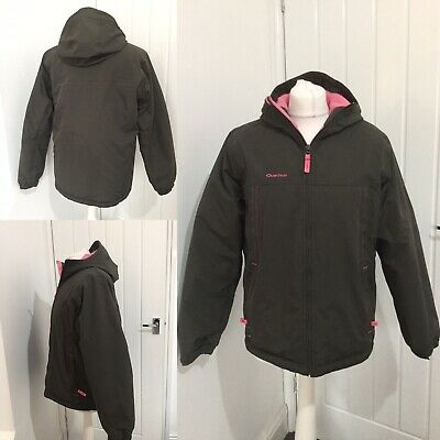 Quechua Outdoor Coat Jacket With Pink  Padded Lining SZ 12 Pockets Warm Hooded