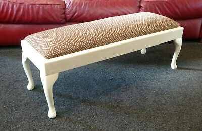 Vintage Long Footstool / Double Length Stool Seat Queen Anne Legs Occaisonal