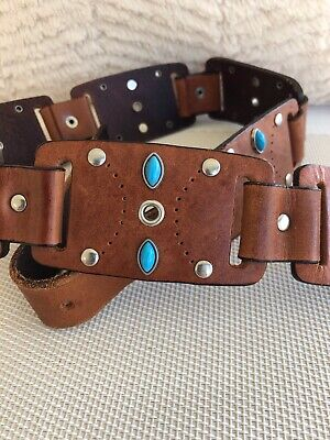 Brown Studded Jeweled Leather BELT Women's Size MEDIUM Pre Owned Beautiful